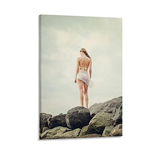 Canvas Boards for Painting Nude Poster Sea Rock Girl Woman Sunlight Legs Spring Bikini Human Body Wall Decor Art24x36inch(60x90cm)