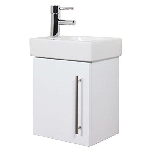 KERAMAG Waschtisch 38cm mit Waschtischunterschrank ● Gäste WC in Hochglanz weiß ● Softclose-Tür, Edelstahl Griffe, Keramik Handwaschbecken ● montierte Möbel Made in Germany