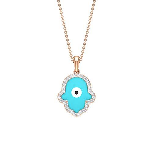 Hamsa Collar con colgante de ojo maligno de ojo de diamante, colgante de ojo de diamante HI-SI