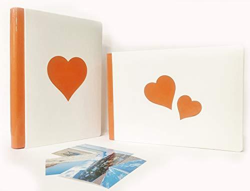 TriVin Art, Álbum artesanal de piel sintética de alta calidad. Fabricado en Italia. 25 páginas rígidas en forma de libro naranja (24 x 34 cm). San Valentín, bautizo, comunión, boda, fotorcordi.