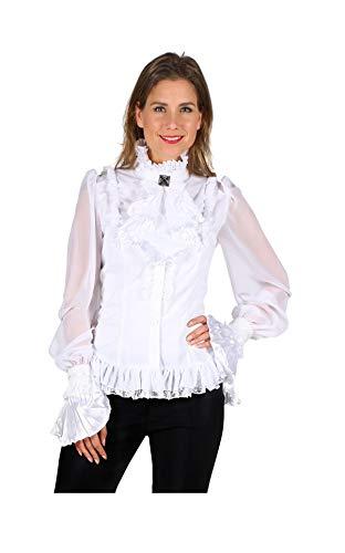 narrenkiste T2232-0200-XL weiß Damen Piraten-Gothic Spitzenbluse-Rüschenbluse Gr.XL=46