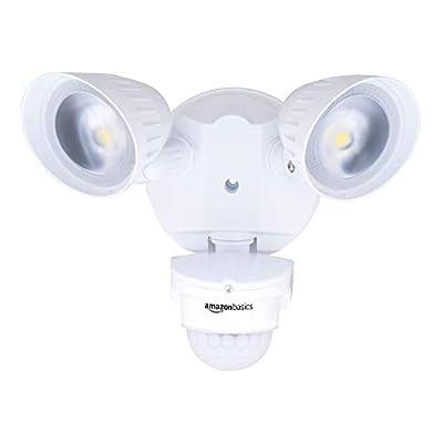 AmazonBasics 40W Waterproof LED Outdoor Motion Sensor Security Light with 2 Adjustable Metal Heads - 5000K Daylight, 4000 Lumen, ETL Certified