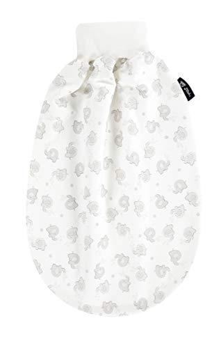 Alvi Baby Schlupfmäxchen light Exclusiv | Schlafsack 0-6 Monate | Baby-Schlafsack 100% Baumwolle | Sommerschlafsack waschbar, Design:Streifenfant silber 865-9