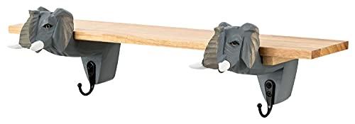 Perchero de pared con estante y ganchos, diseño de animales de la familia Safari, cabeza de animales de madera, superficie de estante: 46 x 8,5 cm, gancho de cabeza de animal: 17 cm