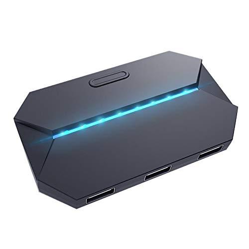 Dpofirs Adaptador de Mouse y Teclado para Juego de Teléfono Móvil, Convertidor de Teclado y Mouse Multifuncional Soporte Inalámbrico y Alámbrico,Adaptador con Soporte para PS4/X Box/Teléfono/Tableta