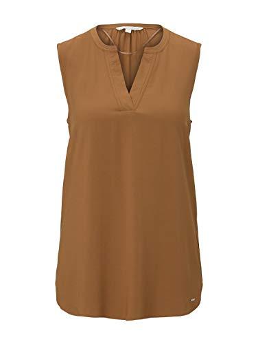TOM TAILOR Denim Blusen, Shirts & Hemden Ärmellose Bluse mit Henley-Ausschnitt Mango Brown, S, 22110, 8000