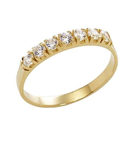 Anello Veretta in Oro Giallo 18kt con Zirconi - 22