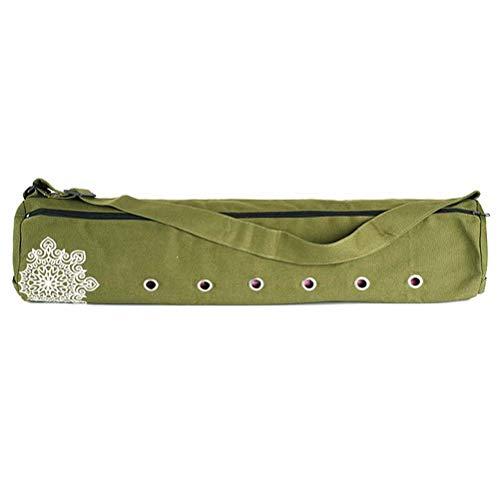 Bolsa de transporte de lona para esterilla de yoga de 70 cm x 18 cm, transpirable, con cordón, para deporte, ejercicio, gimnasio, fitness, mochila para esterilla de yoga de 8 mm