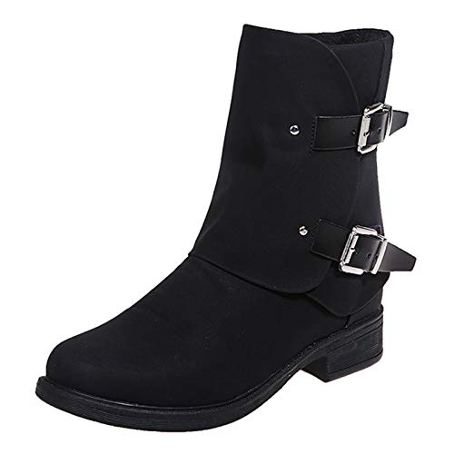 Womens Boots Vintage Solid Color Leather Square Heel Zipper Short Boots Round Toe Shoes Black