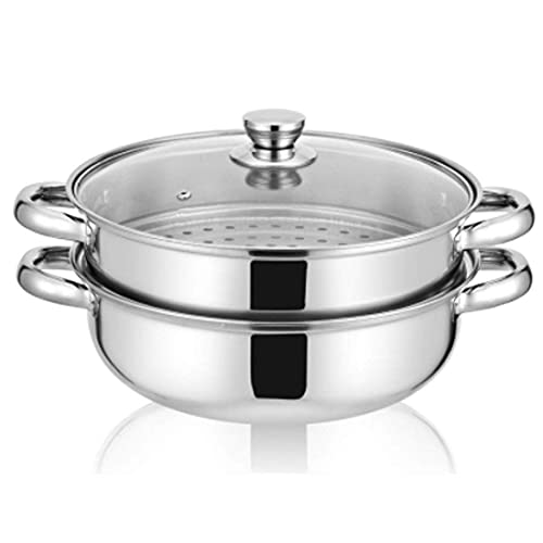Stainless Steel Stack and Steam Pot Set - and Lid,Steamer Saucepot double boiler-2 Tier Steamer Pot Steaming Cookware -Steamer Pot Glass Lid Food Veg Cooker Pot Cooking Pan For Kitcken Cooking Tool,