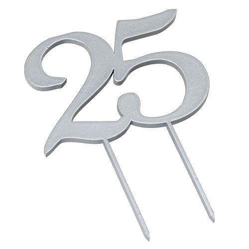 Mopec Cake Lot de 2 décorations en bois pour anniversaire 25 ans Argenté 12 x 17 cm