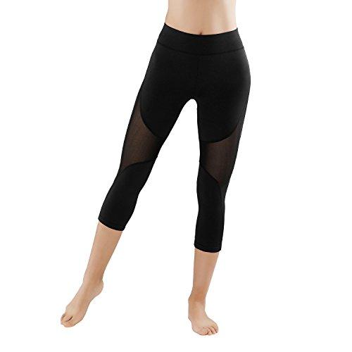2er Pack GoVIA Leggings Damen Laufhose mit Mesh-Einsatz streche Fitness Yoga Sporthose High Waist Luftdurchlässiges Textil-Netzgewerbe 4132+4135K L/XL, Schwarz