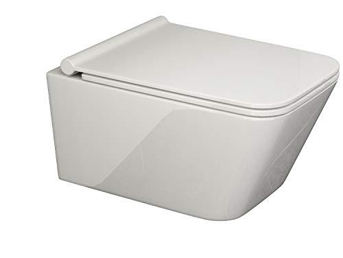 SSWW | Design Hänge-WC CT2041 | eckige Toilette inkl. Sitz mit Absenkautomatik| geschlossener Unterspülrand | Lotus-Effekt | ultra flacher Wc-Sitz | modernes Design | 540x360mm