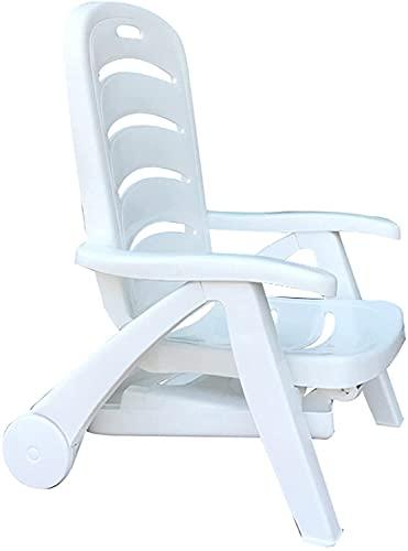 TANKKWEQ Silla plegable de la tumbona Portátil de plástico de ocio sillas con ruedas y reposabrazos, respaldo ajustable de 5 posiciones, reclinable al aire libre asiento para cama solar para jardín Pi