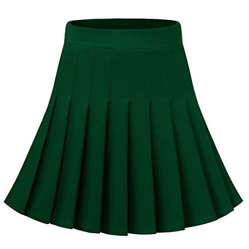 Dressystar Women's Basic Skirt Stretchy Skater Cheerleader Pleated Mini Skirt 09 Green S