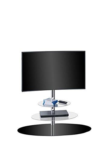 MAJA Möbel TV-hylla, glas, metall krom – svart glas, 110,00 x 47,30 x 132,50 cm