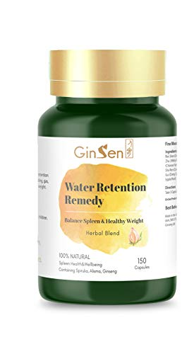 GinSen Water Retention Tablets (150 Caps) Helps Weight Balance, Bloating, Fatigue, Burn Fat, Body Fluid Maintenance, Reduce Body Fluid Accumulation, Vegetarian, Natural Remedy, Made in UK