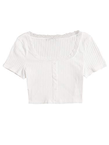 SOLY HUX Damen Bauchfrei Tops Crop Top Oberteil Kurzarm T-Shirts Slim Fit Shirt Sommershirts mit Spitzenbesatz Weiß M