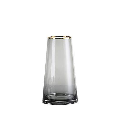 PUCHIKA Vase Glas Blumenvase, Modern Vase für Zuhause und Hochzeit, Kaltgrün Tischvase für Pflanzen, Tischdeko, Höhe 22cm, Ø12cm.
