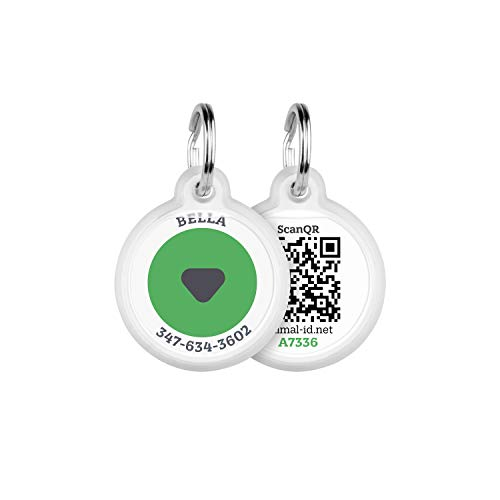 Animal ID QR pet tag - Green Log - Pet Tags Personalized for Cats and Dogs - Links to Profile - Dog ID Tags Personalized for Your Pet with The GPS Location - QR Code Dog Tag with Online Pet Profile