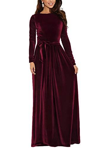 Zattcas Womens Velvet Maxi Dress Elegant Winter Christmas Long Sleeve Maxi Dress Burgundy X-Large