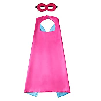 Evlatte Kids Superhero Cape and Mask Festival Fancy Dress Superhero Costumes for Boys and Girls Dress up for Halloween Christmas Cosplay Birthday Party  Rose red-Blue