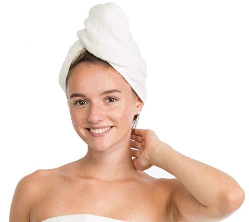 Brandsseller Toalla turbante de pelo con botón 100% algodón, color crema/blanco