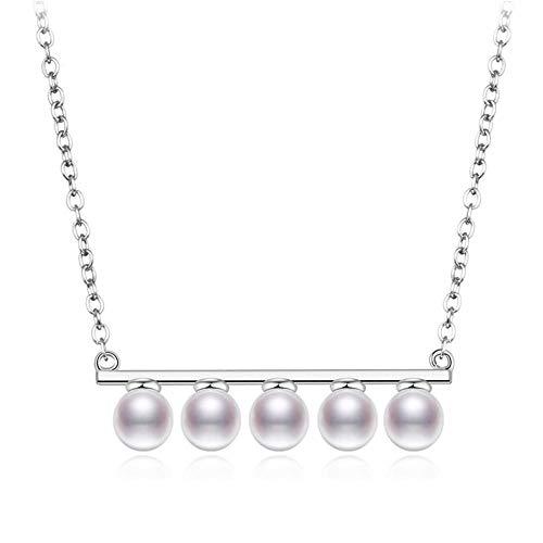Roapk 925 Perlas De Plata Esterlina Collares Pendientes para Mujeres Collar De Cadena De Enlace Gargantilla Joyería De Boda De Moda 2019 40 Cm