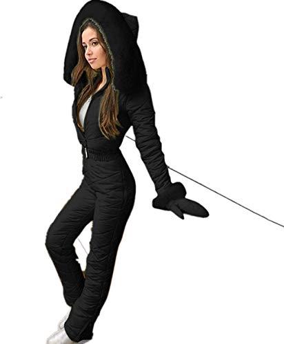 Myun Schneeanzug Damen Einteiliger Skioverall Warme Winter Hoodie Skisuit Schnee Skianzüge Langer Jumpsuit Overall mit Reißverschluss Outdoor Sports Ski-Anzug Schnee Skifahren Sätze
