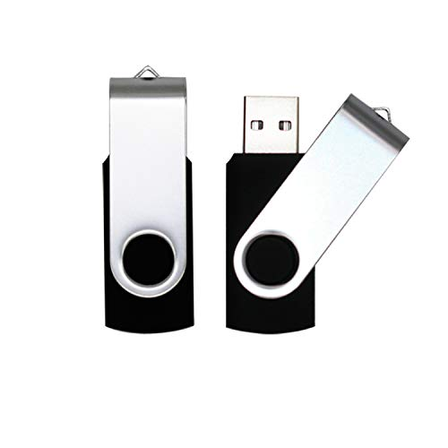 USB Flash Drive 64GB 2 Pack USB 2.0 Thumb Drive Jump Drive Bulk Memory Sticks Zip Drives Swivel Keychain Design, Black