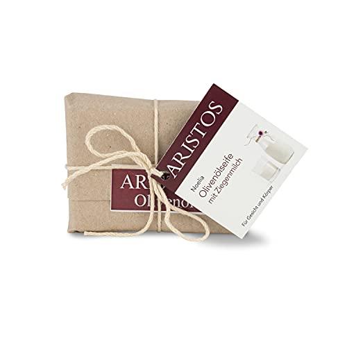 ARISTOS 3x vegane Olivenölseife mit Ziegenmilch für trockene Haut Babys und Kleinkinder zum Abschminken Gesichtsreinigung (3x 100 g)