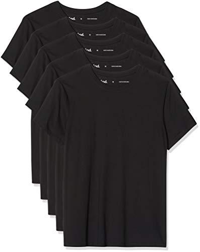 Marca Amazon - find. Camiseta Entallada Hombre, Pack de 5, Multicolor (5 X Black), S, Label: S