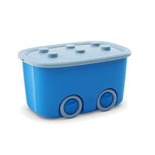 KK Verpackungen Spielzeugkiste mit großen Rädern & aufliegendem Deckel | Spielzeug-Aufbewahrungsbox aus Plastik mit 46 Liter & in Blau/Hellblau, 580x385x320mm