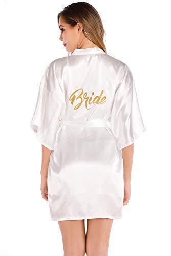 MARYSAY Damen Kimono Morgenmantel Kurz Stain Robe Sexy V Ausschnitt Bademantel Nachtwäsche mit Gürtel für Party Hochzeit Braut Weiß L