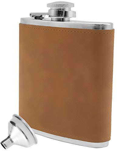 Outdoor Saxx® - Roestvrij stalen heupfles Leather Design | Flaon borst tas fles | gratis vultrechter, geweldig cadeau, 175 ml, lichtbruin