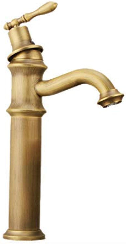 BH-JJSMGS Becken Wasserhahn heien und kalten Kupfer Waschbecken Wasserhahn Bambus Kunst Wasserhahn Kupfer heien und kalten Einloch-Bad Waschbecken Wasserhahn