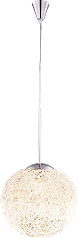 Hngelampe 1 flammig Hngeleuchte Pendelleuchte Schlafzimmer Lampe Kugel Korbgeflecht (Pendellampe, Deckenlampe, Deckenleuchte, Esstisch Leuchte, Küche, Esszimmer, 30 cm, H 185 cm, Fassung 1 x E27)