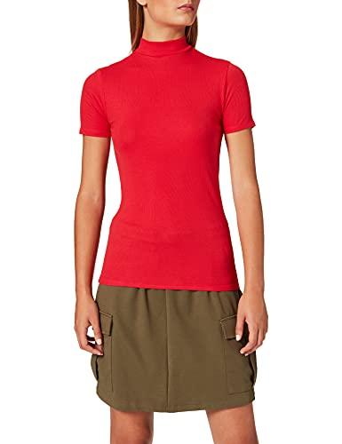 Amazon-Marke: MERAKI Damen Slim Fit T-Shirt mit Stehkragen, Rot (Red), 36, Label: S