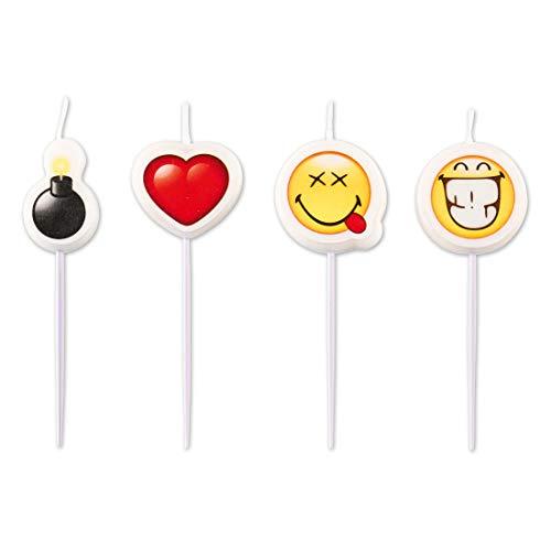 NET TOYS 4 Kuchenkerzen Smiley Emoticons | ca. 6 cm hoch | Angesagte Party-Deko Emoji Figurenkerzen als Kuchendekoration geeignet für Kindergeburtstag & Sommerfest