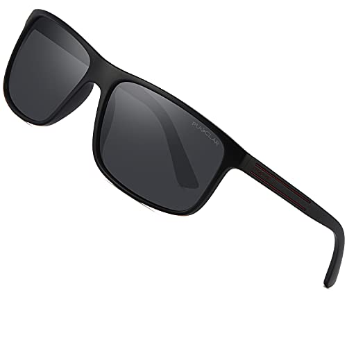 PUKCLAR Gafas de sol polarizadas rectangulares para hombre y mujer, material ligero vintage, montura TR90, protección UV400, deportes al aire libre, golf, ciclismo, pesca, senderismo, gafas de sol