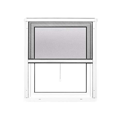 jarolift 4 in 1 Zanzara Insektenschutzrollo Fliegengitter für Fenster, Bausatz mit Aluminium-Rahmen, robustes Fiberglas-Gewebe, 70 x 130 cm (B x H), Weiß