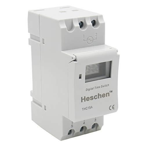 Heschen Digital-LCD-Leistung wöchentliche programmierbare Timer Relaisschalter THC15A DC 12V 16 Amp SPST 35mm DIN-Schiene