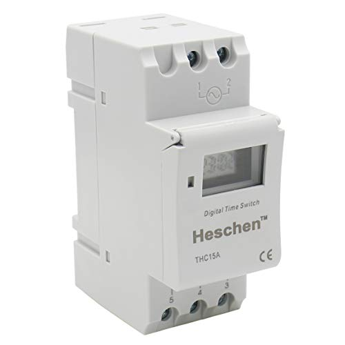 Heschen Digital LCD Power Weekly Interruptor de relé de temporizador programable THC15A DC 12V 16 Amp SPST 35mm Carril DIN