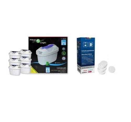 6 x Filterlogic Universal Compatible Brita Maxtra Water Filters + Bosch Tassimo Descaling/Descaler Tablets 311864 for Tassimo Machines Including TAS5542GB,TAS6515GB,TAS8520GB- Care/Maintenance Pack