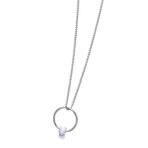 Gargantilla con un Aro pequeño en Plata de 1ª Ley, recubierto de Rodio y con una Perla Cultivada en el Aro de Lecarré Joyas.