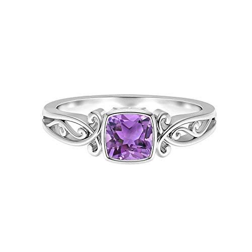 Shine Jewel Anillo Vintage de Plata 925 con Piedras Preciosas de Amatista púrpura con cojín de 0,75 CTW (9)