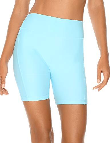 RELLECIGA Damen High Waist Boardshorts Bademode Shorts Bike Shorts - Blau - Small