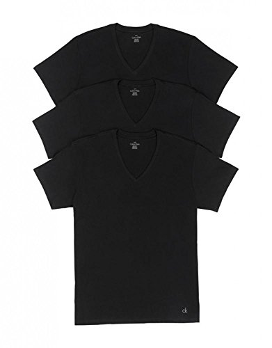 Calvin Klein Men's Cotton Classics Multipack V Neck T-Shirts, Black, Small