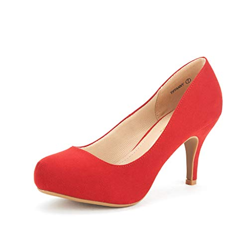 DREAM PAIRS Tiffany Women's New Classic Elegant Versatile Low Stiletto Heel Dress Platform Pumps Shoes Red Size 7.5