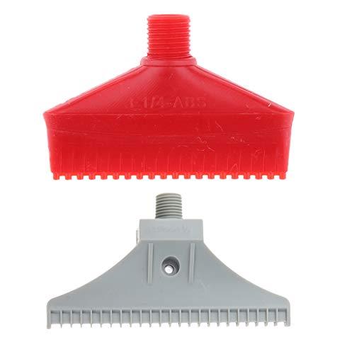 FLAMEER 2 Pcs Boquilla de Chorro de Aire Soplador de Aire Soplador de Aire Plano De Plástico, Color Gris y Rojo, Rosca Macho de 1/4 Pulgada